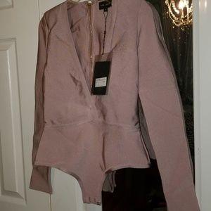Missguided/peace + love  mauve bodysuit